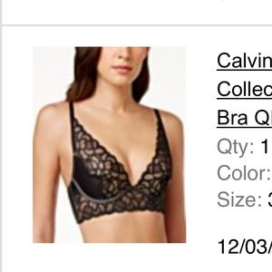 Calvin Klein lace black push up bra 34C